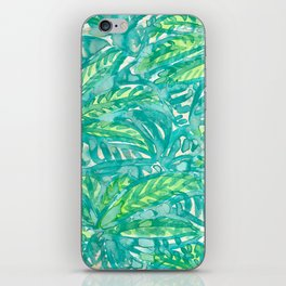 Turquoise & Lime Leaves iPhone Skin