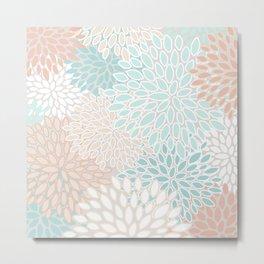 Floral Prints, Soft, Peach and Teal, Modern Print Art Metal Print