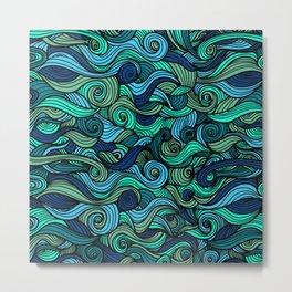 Artistic Blue Swirls Metal Print