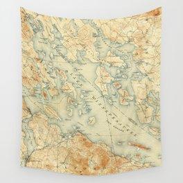 Vintage Map of Lake Winnipesaukee (1907) Wall Tapestry