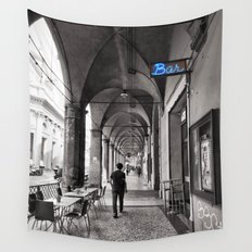 Black and white Bologna Street Photography Wall Tapestry