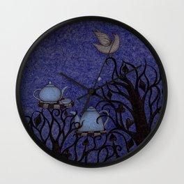 Kingfisher's Invitation to Tea (1) Wall Clock