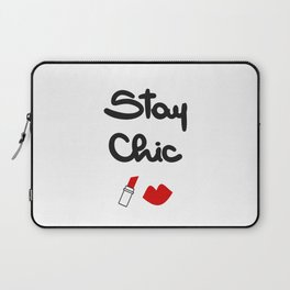 cute hand drawn lettering stay chic quote with red lips and lipstick Laptop Sleeve