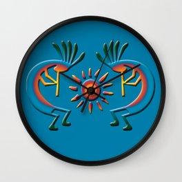 Southwest Kokopelli with Sun Turquoise Wall Clock