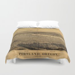 Aerial View of Portland, Oregon (1879) Duvet Cover