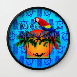 Blue Tikis Island Time And Parrot Wall Clock