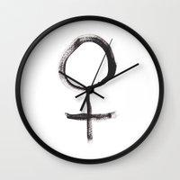 feminism Wall Clocks featuring Feminism by Mikaela Puranen