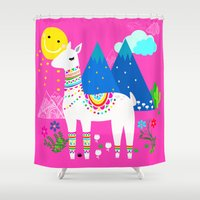 peru Shower Curtains featuring Pink in Peru by MY  HOME