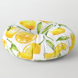 lemon watercolor Floor Pillow