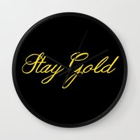 stay gold Wall Clocks featuring Stay Gold by bitobots