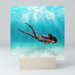 Female S.C.U.B.A. Diver Mini Art Print