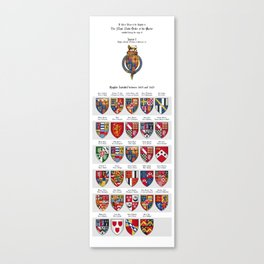 KING JAMES I - Roll of arms of the Knights of the Garter installed during his reign Canvas Print