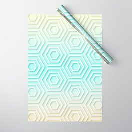 3D Hexagon Gradient Minimal Minimalist Geometric Pastel Soft Graphic Wrapping Paper