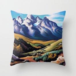 American Masterpiece 'The Sheep Herder' by Thomas Hart Benton Throw Pillow