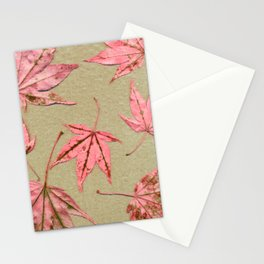 Japanese maple leaves - pink on natural unbleached paper Stationery Cards