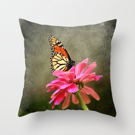 Monarch Butterfly and Pink Zinnia Throw Pillow