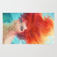 redhead Area & Throw Rugs featuring Under The Sea by Artgerm™
