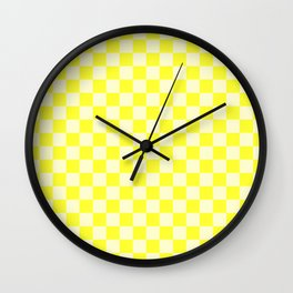 Cream Yellow and Electric Yellow Checkerboard Wall Clock