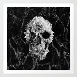 Floral Marble Skull Art Print