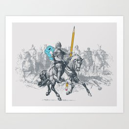 The Mighty Pencil Knight Art Print