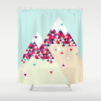 twin peaks Shower Curtains featuring Twin Peaks by Attitude Creative