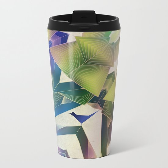 Little Blue Bird Metal Travel Mug