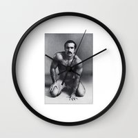 bruno mars Wall Clocks featuring Bruno by vooduude
