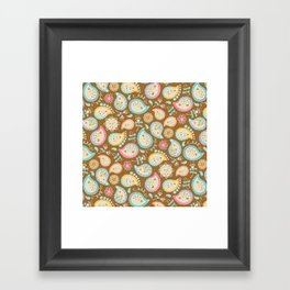 Hedgehog Paisley_Colors and Cocoa Framed Art Print