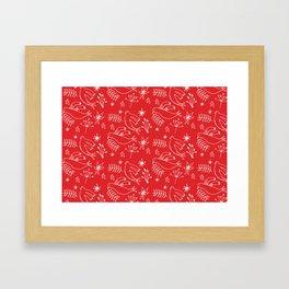 Christmas Dove Red Framed Art Print