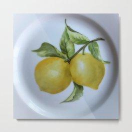Lemon Botanical Metal Print