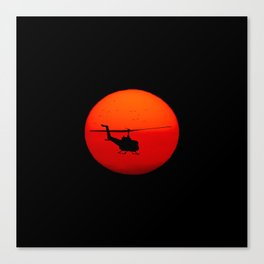 Vietnam Helicopter Sunset Canvas Print