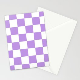 Large Checkered - White and Light Violet Stationery Cards
