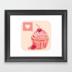 Cherry Heart Cupcake Framed Art Print