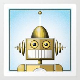 Gold Robot Head Shot Art Print