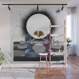 eclipse - two women and a ginkgo leaf with a sun and moon kiss in the sky Wall Mural