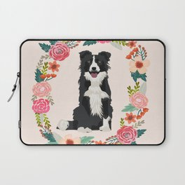 border collie black and white floral wreath dog gifts pet portraits Laptop Sleeve