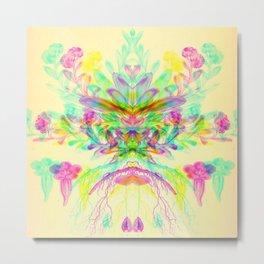 Botanical Flower Glitch V Metal Print