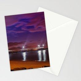 The Pier at Woodland Beach Coastal Landscape Night Photo Stationery Cards