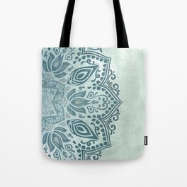 Mandala Teal Blue Green Turquoise - right side Tote Bag