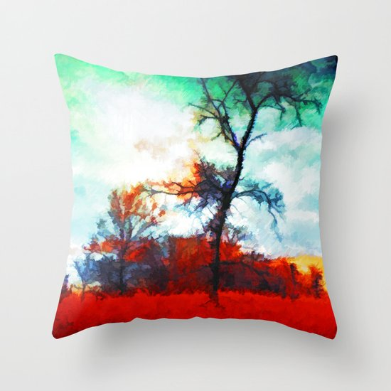 Fallen Leaves - Painting Style Throw Pillow