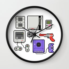 Pixel art console Nintendo Wall Clock