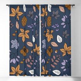 Navy blue modern autumn garden leaves botanical pattern Blackout Curtain