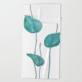 Adder's tongue fern painting Beach Towel