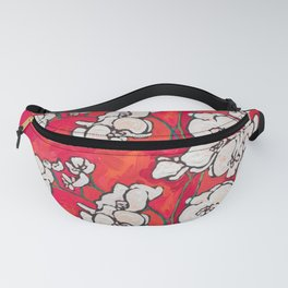 Orchid in Chinoiserie Bird Pot on Pink, Coral and Red Background Floral Still Life Painting Matisse Fanny Pack