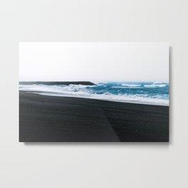 Melancholic Beach Stroll in Iceland Metal Print