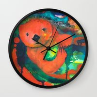 otter Wall Clocks featuring Otter by Silke Powers