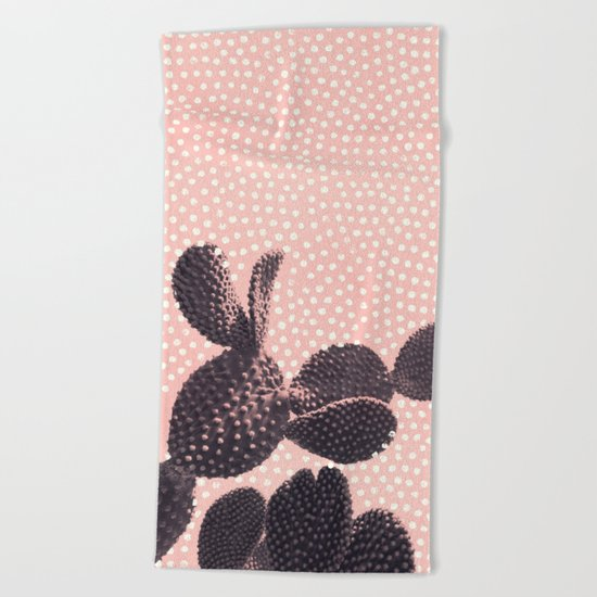 Cactus with Polka Dots Beach Towel