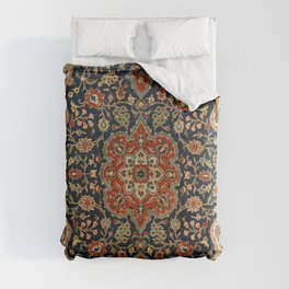 Central Persia 19th Century Authentic Colorful Dark Blue Red Tan Vintage Patterns Comforters