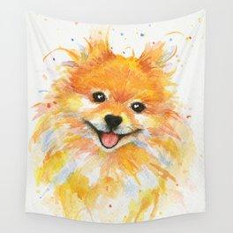 Happy Pomeranian Wall Tapestry