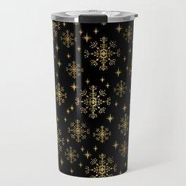 Gold and black snowflakes winter minimal modern painted abstract painting minimalist decor nursery Travel Mug